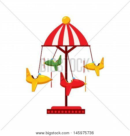 Childrens carousel with planes icon in cartoon style isolated on white background. Attraction symbol vector illustration