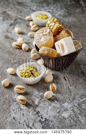 Eastern Sweets. Turkish Delight With Pistachios In A Vase. Dark