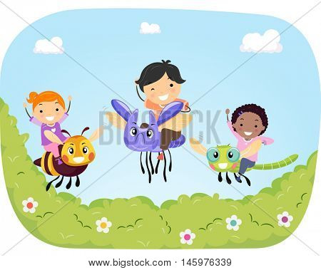 Stickman Illustration of Kids Riding Giant Bugs Flying Over a Garden