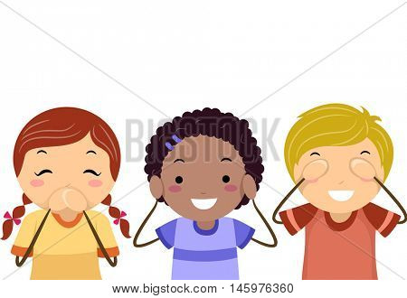 Stickman Illustration of Kids Covering Their Eyes, Ears, and Mouth
