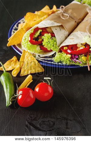 Vegetarian Tartilla Home With Tomatoes, Cabbage, Cheese And Sala