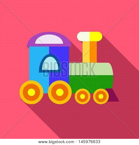 Train icon in flat style with long shadow. Toy symbol vector illustration