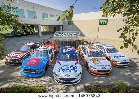 Concord, NC - Aug 30, 2016: The Roush Fenway Racing Throwback Race Cars at the Roush Fenway Racing World Headquarters in Concord, NC.