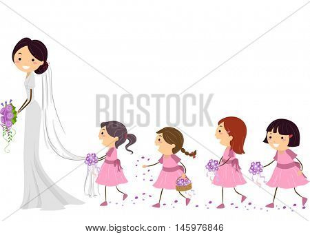 Stickman Illustration of Flower Girls Following a Bride