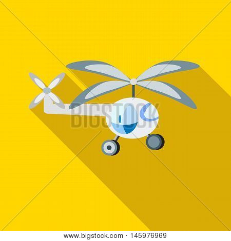 Childrens helicopter icon in flat style with long shadow. Toy symbol vector illustration