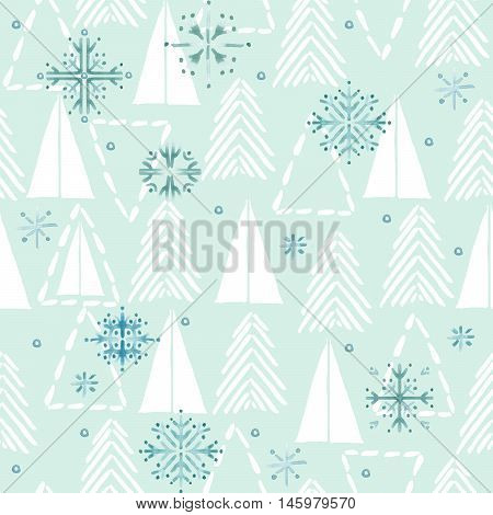 Seamless pattern with winter forest and snowflake. Watercolor winter forest background. Christmas tree pattern.