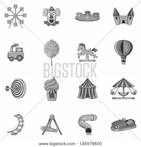 Amusement park icons set in black monochrome style. Attraction park set collection vector illustration