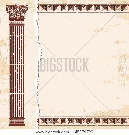 Vector Greek style frame ornament with column and with the aging effect. Brown pattern on a beige background.