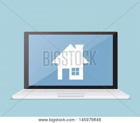 house real estate on laptop screen online real estate business vector illustration