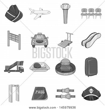 Airport icons set in black monochrome style. Air travel symbols set collection vector illustration
