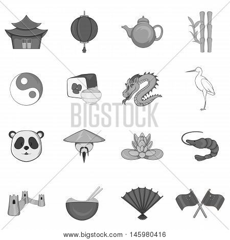 China icons set in black monochrome style. China simbols set collection vector illustration