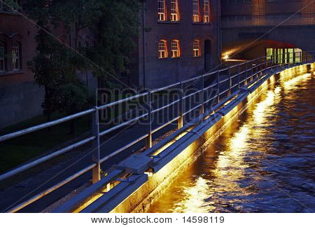 Nightscene by the twisting river in Tampere, Finland