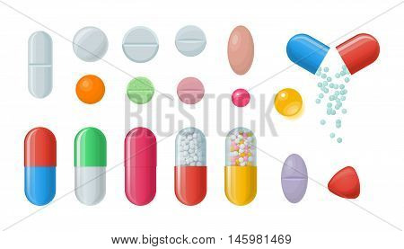 Set of vector pills and capsules. Icons of medications. Pharmaceutical tablets: painkillers, antibiotics, vitamins and aspirin. Pharmacy and drug symbols. Medical illustration on white background