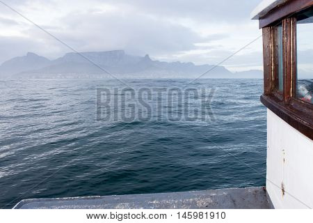 Cape Town And Table Mountain Viewed From Deck Of Boat