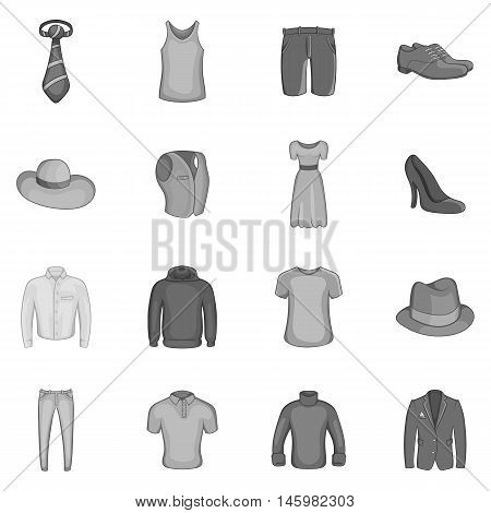 Clothe icons set in black monochrome style. Elegance clothing set collection vector illustration