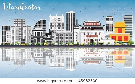 Ulaanbaatar Skyline with Gray Landmarks, Blue Sky and Reflections. Business Travel and Tourism Concept with Historic Buildings. Image for Presentation Banner Placard and Web Site.