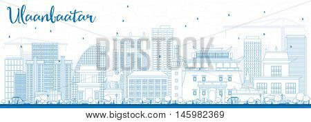 Outline Ulaanbaatar Skyline with Blue Buildings. Business Travel and Tourism Concept with Historic Buildings. Image for Presentation Banner Placard and Web Site.