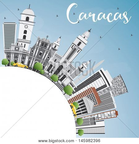 Caracas Skyline with Gray Buildings, Blue Sky and Copy Space. Business Travel and Tourism Concept with Historic Buildings. Image for Presentation Banner Placard and Web Site.