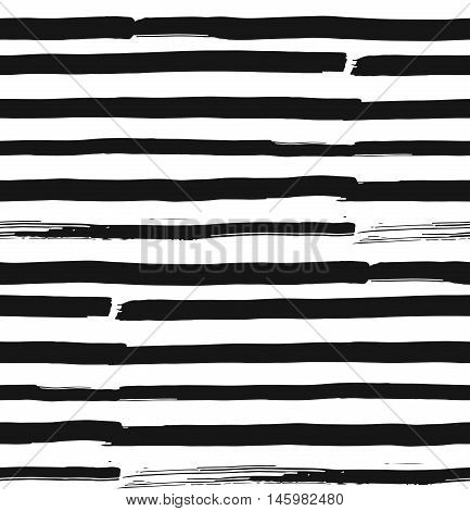 Grunge Vector Brush Strokes Striped Seamless Pattern. Vibrant geometric lines background. Hand drawn stripes pattern for print textile design fashion. Distress painted texture. Black and white