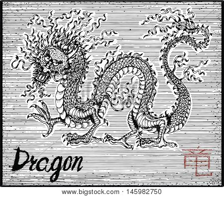 Engraved illustration of zodiac symbol with Dragon and lettering. Horoscope and astrological vector sign of asian new year calendar. Graphic line art with animal. Chinese hieroglyph means Dragon