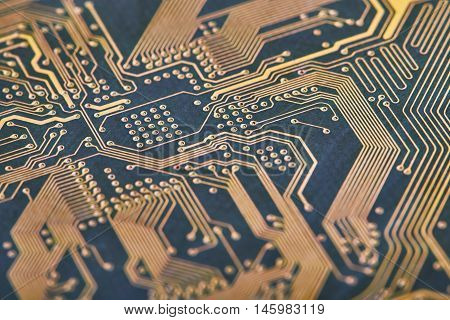 Electronic components, computer card close-up, digital technology, electric charge, elements of the personal computer