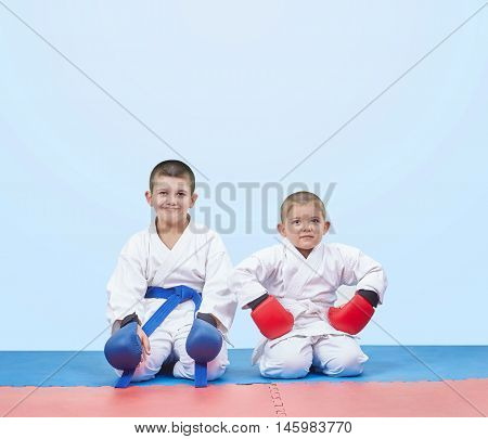Brothers karate boys sit in karate pose on the mats