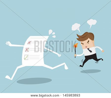 angry businessman use fire to burn poor evaluation form business concept vector illustration