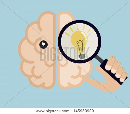 human brain use magnifier find idea creative thinking concept vector illustration