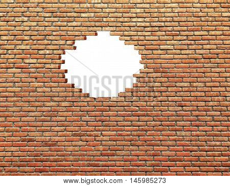 white hole in old wall.Old brick wall as background