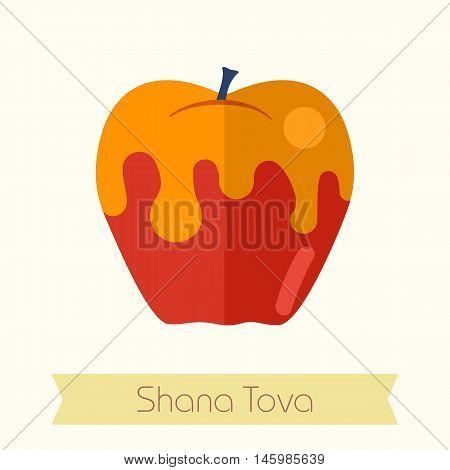 Honey on apple. Rosh Hashanah icon. Shana tova. Happy and sweet new year in Hebrew