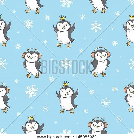 Seamless pattern with cute cartoon penguins. Winter time. White snowflakes. Funny animals. Antarctic birds. Vector contour image. Children's illustration.