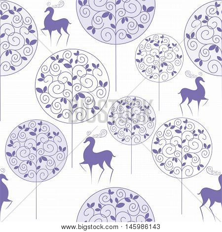 Christmas seamless pattern with the image of winter forest and deer in vintage style