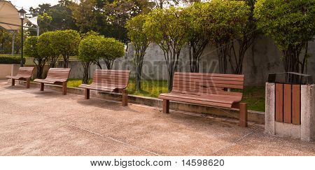 Four Rest Bench In The Park