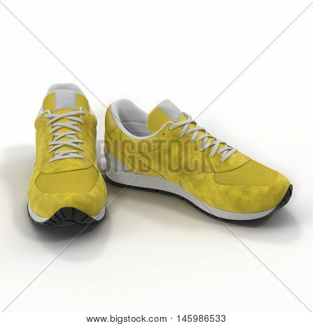 Yellow sneakers isolated on White Background 3D Illustration