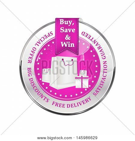 Sales advertising icon - buy, save and win. Special offer, big discounts, free delivery, satisfaction guaranteed