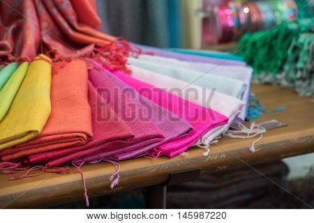 Various different colors silk fabric cloth colorful