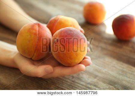 Female hands holding fresh peaches on a wooden background