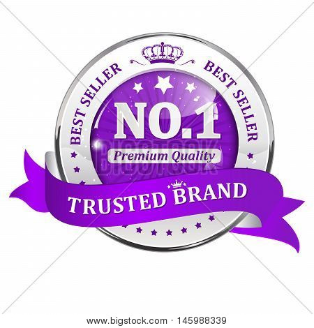 Trusted brand, Best seller, Premium Quality - shiny purple ribbon for retail business