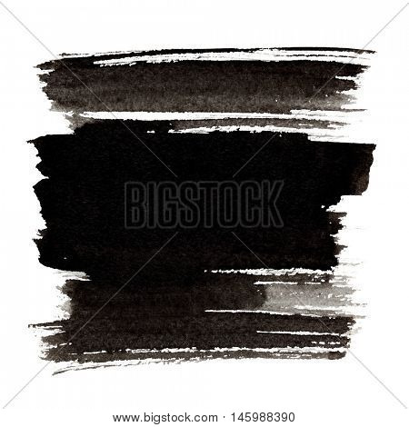 Black brush strokes isolated on the white background - space for your own text
