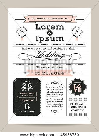 black and white with pink pastel color monogram wedding invitation template
