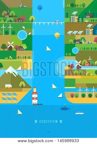 Village and landscape flat illustration. Mountain landscape. Ecological holidays. The development of agriculture.