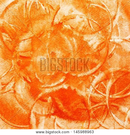 Orange abstract watercolor background with circles