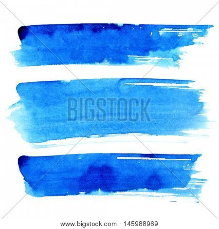 Set of blue brush strokes isolated on the white background