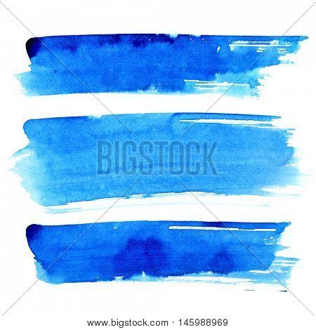 Set of blue brush strokes isolated on the white background