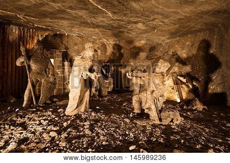 KRAKOW, POLAND - APRIL 04, 2015: Carvings in Wieliczka salt mine near Krakow in Poland on April 04, 2015.