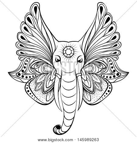 Vector elephant with wings instead ears. Perfect for original ethnic background, tattoo art, yoga, African, Indian, Thai, also boho design. Use for print, posters, t-shirts, textiles