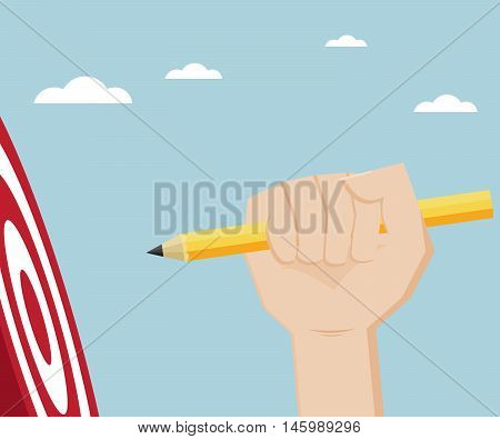 hand with yellow pencil hit dart board target vector illustration