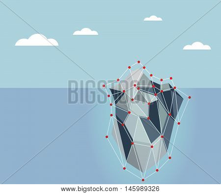 ice berg in polygon background vector illustration