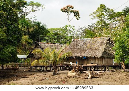 Peru Peruvian Amazonas landscape. The photo present typical indian tribes settlement in the Amazon