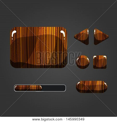 Set of wooden different buttons for game design